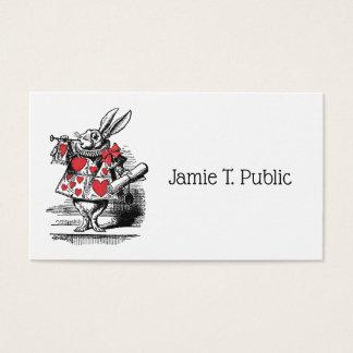Tarjeta De Visita Trompetista blanco Alicia de la corte del conejo