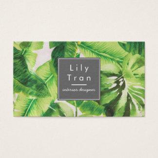 Tarjeta de visita tropical de la textura de la