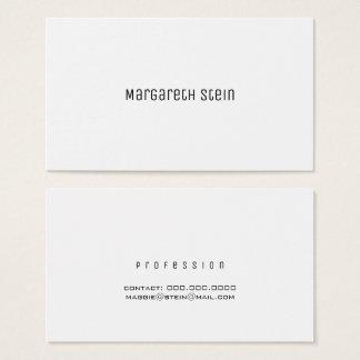 Tarjeta De Visita unica elegante minimalista un blanco del estilo de