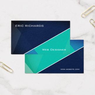 Tarjeta De Visita Verde azul futurista moderno
