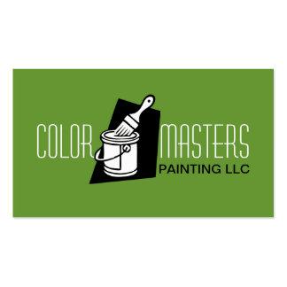 Tarjeta de visita verde de construcción del pintor