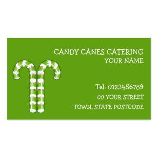 Tarjeta de visita verde de los bastones de caramel