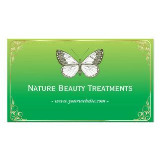 Tarjeta de visita verde de los tratamientos de la