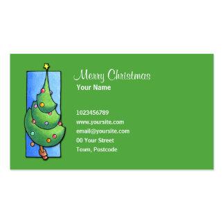 Tarjeta de visita verde del árbol de navidad
