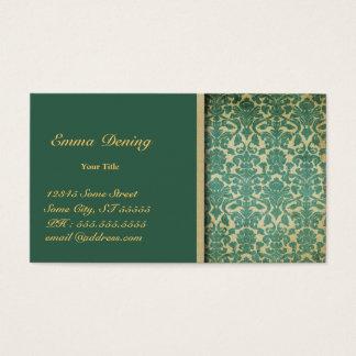 Tarjeta De Visita Verde del damasco del vintage