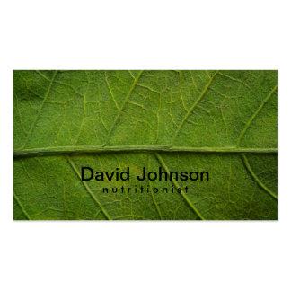 Tarjeta de visita verde del nutricionista de la te