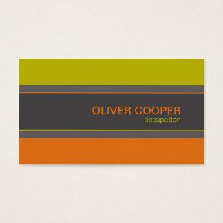 Tarjeta De Visita Verde retro moderno del naranja de los colores de
