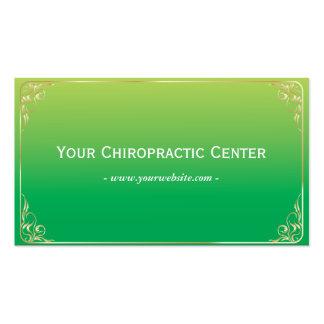 Tarjeta de visita verde simple de la quiropráctica