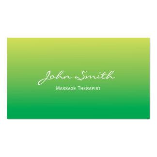 Tarjeta de visita verde suave del terapeuta del ma