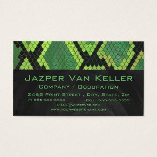 Tarjeta De Visita Verde y negro de la serpiente del monograma