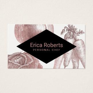 Tarjeta De Visita Verduras color de rosa modernas del oro del