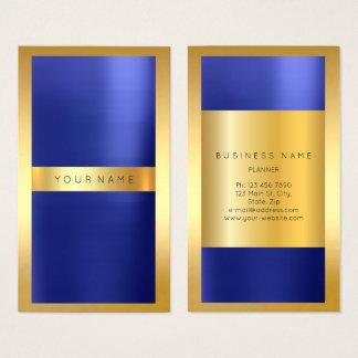 Tarjeta De Visita Vertical metálica de los azules añiles del cobalto