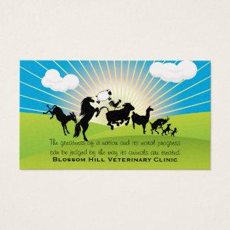 Tarjeta de visita veterinaria de los animales del