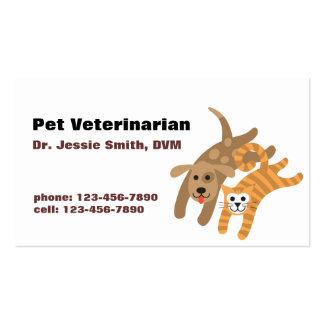 Tarjeta de visita veterinaria del cuidado de anima