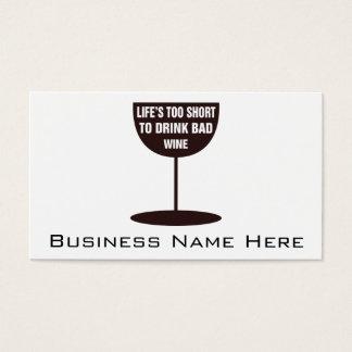 Tarjeta De Visita Vida demasiado corta beber el mún vino - cita