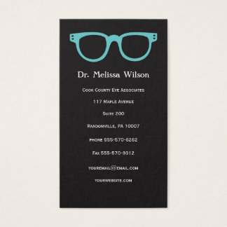 Tarjeta De Visita Vidrios verticales negros del optometrista del