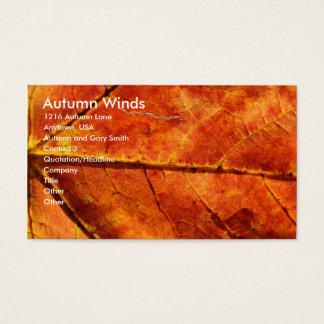 Tarjeta De Visita Vientos del otoño, foto de la macro de la hoja del