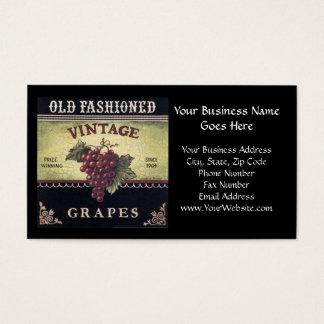 Tarjeta De Visita Vino viejo de las uvas del vintage de la moda,