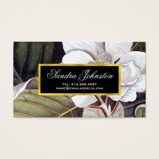 Tarjeta De Visita Vintage blanco de la magnolia botánico