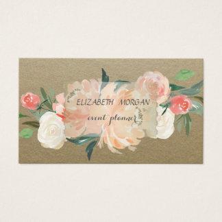 Tarjeta De Visita Vintage elegante, Kraft, flores
