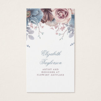 Tarjeta De Visita Vintage floral polvoriento de la acuarela azul y