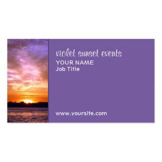 Tarjeta de visita violeta de la puesta del sol