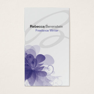 Tarjeta de visita violeta del monograma floral