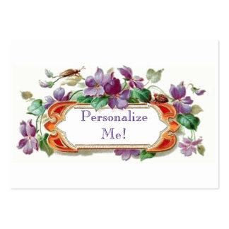 Tarjeta de visita violeta del vintage tarjeta de v