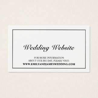 Tarjeta De Visita Web site blanco y negro elegante del boda