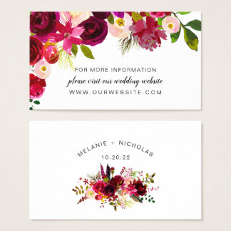 Tarjeta De Visita Web site floral Info del boda de Boho Borgoña