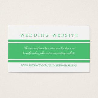 Tarjeta De Visita Web site moderno del boda del verde esmeralda