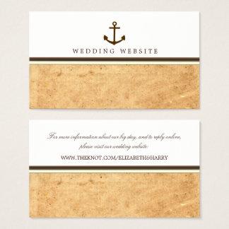 Tarjeta De Visita Web site náutico del boda de papel del vintage del