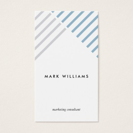 Tarjeta De Visita White blue grey stripes minimal modern simple card