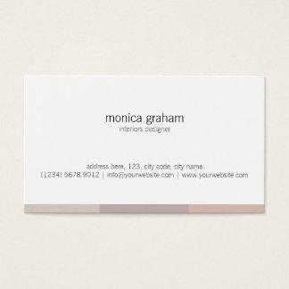 Tarjeta De Visita White brown pink stripe retro minimal cute card