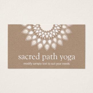 Tarjeta De Visita Yoga y mediación de plata blancas de la mandala de