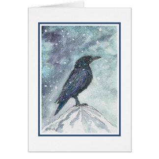 Tarjeta de Yule del cuervo de la nieve - revisada