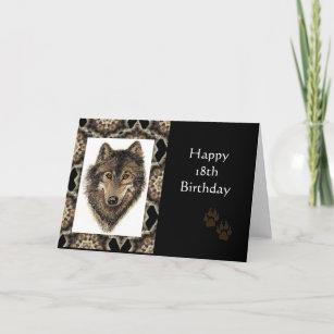 f2bfad2e5a103 Tarjeta Décimo octavo cumpleaños feliz con el lobo de la