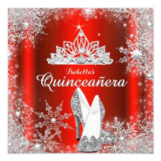 Tarjeta Décimo quinto cumpleaños de la tiara de plata roja