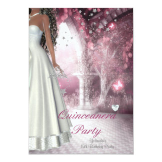 Tarjeta Décimo quinto vestido blanco de la fiesta de