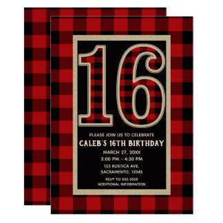Tarjeta Décimosexto cumpleaños 16 de la tela escocesa roja