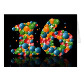 Tarjeta décimosexto cumpleaños con los números formados de