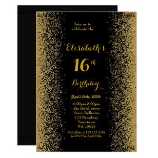 Tarjeta décimosexto, cumpleaños décimosexto, brillo, oro