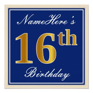 Tarjeta Décimosexto cumpleaños del oro elegante, azul,