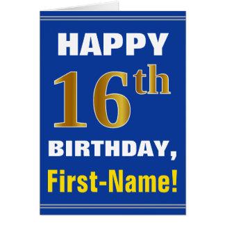 Tarjeta Décimosexto cumpleaños del oro intrépido, azul,