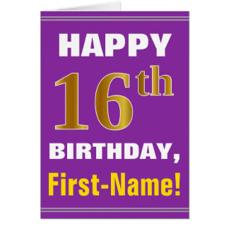 Tarjeta Décimosexto cumpleaños del oro intrépido, púrpura,