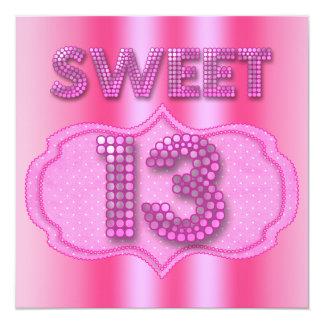 Tarjeta décimotercero Dulce 13 lunares del rosa de la