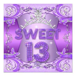 Tarjeta Décimotercero tiara de plata púrpura de la fiesta