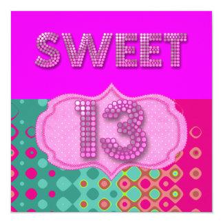 Tarjeta décimotercero Trullo del rosa de la fiesta de