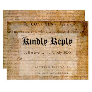 Tarjeta Declaración de Independencia RSVP 1776 patriótico