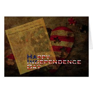 Tarjeta Declaración de Independencia y bandera el 4 de